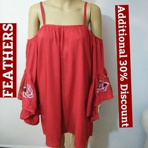 Feathers, Red Embroidered Tunic Dress Sz M…